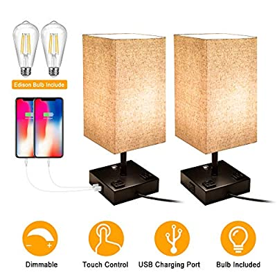 Bedside Lamp, 3 Way Dimmable Touch Control Table Lamp with 2 USB Charging Ports 2 AC Outlets, Nightstand Lamp with Flaxen Fabric Shade Bedroom Lamp for Bedroom Living Room, Reading, Office, Set of 2