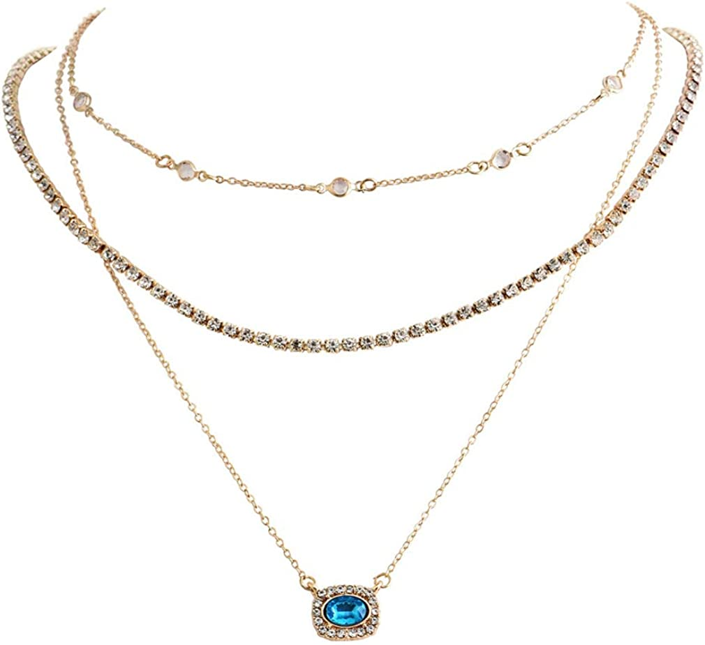 DearAnswer Rhinestone Multi-Layered Necklace Charm Bohemian Ethnic Style Long Pendant Necklaces Collar Choker