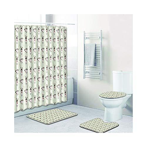 Beydodo Badematte 4 Teilig Anti-Schimmel Duschvorhang 180x180, Tier H& Zeichnung 45x75 Fußmatten Badezimme Waschbar + Toilettenabdeckung