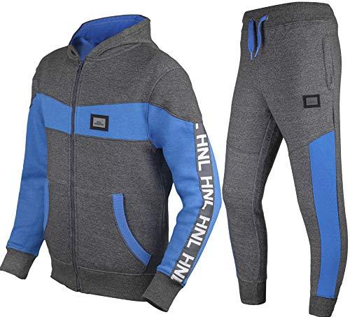 GUBA® - Tuta da jogging per bambini e bambine, design HNL, con cappuccio e fondo in pile, 5-13 anni Colore: blu antracite. 11-12 anni