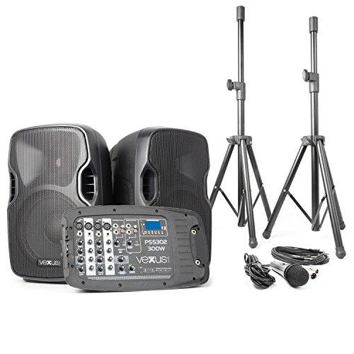Vexus PSS302 Transportable PA-Anlage DJ-Karaoke-Anlage Lautsprecher-Boxen-System mit Mixer und Ständer (300 W max, Bluetooth, MP3-fähiger USB-Slot und SD-Kartenslot, 2 x Stativ 1 x Mikrofon)