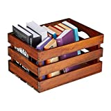 Relaxdays Caja Vintage, decoración para Vino (Madera, 21 x 39 x 29 cm), Color marrón Oscuro, tamaño