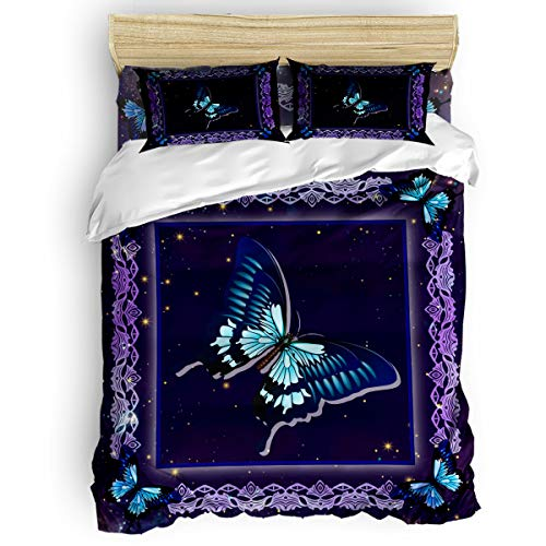 Edwiinsa 4 Piece Bedding Set Twin Size Comforter Cover for Boys, Starry Sky Soft Polyester Microfiber - Shrink & Fade Resistant Kid's Duvet Cover Sets, Butterflies Floral Frame