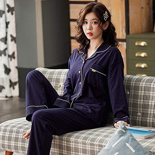 Schlafanzug Plus Size Solid Color Cardigan Pyjama Für Junge Mädchen Herbst Baumwolle Frauen Nachtwäsche Zweiteilige Mode Freizeitkleidung Zu Hause-H_M.