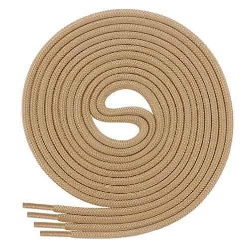DI FICCHIANO Cordones redondos para calzado de negocios y de cuero, cordones versátiles, 3 mm de diámetro, longitud 60 - 130 cm, 25 colores, de poliéster, Unisex, beige, 90 cm