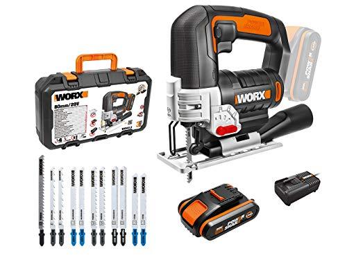 WORX Seghetto Alternativo a Batteria 20V 24mm WX543.2, ±45° Angolo Inclinato, Cambio Lama Rapido 0-2600spm, Profondità di Taglio: 40mm
