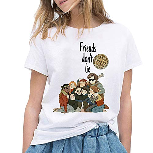 Camiseta Stranger Things, Camiseta Stranger Things Mujer Niña Impresión T-Shirt Abecedario Camiseta Stranger Things Temporada 3 Camisa de Verano Regalo Camisetas y Tops (35,S)