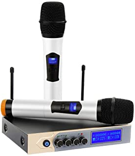 Bluetooth Wireless Microphone,ARCHEER UHF Dual Channel Karaoke Microphone System with LCD Display, Handheld Microphone wit...