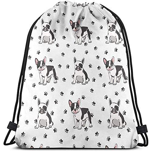 MOTALIN Bolsas de Hombro Escolares Unisex,Bolsa de Viaje con cordón Mochila de Bulldog francés Bolsa de Yoga para Gimnasio Deportivo