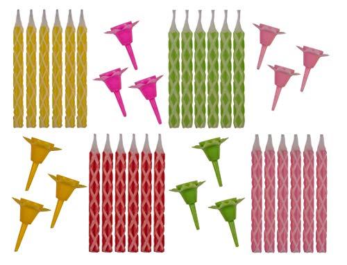 PhiLuMo Bunte Geburtstagskerzen - 24 Kerzen mit 12 Haltern - 7 cm hoch - gelb, grün, pink, rot