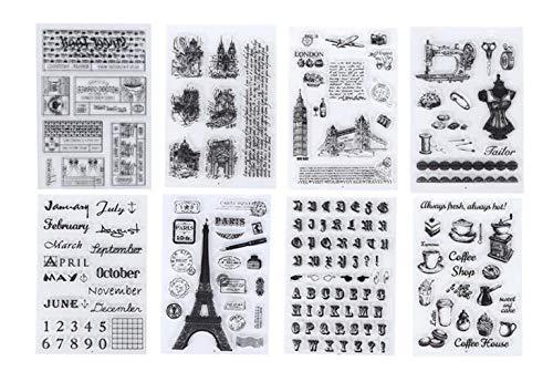 Brilaris Silikon-Druckstempel, 8er-Pack Scrapbooking-Druckstempel Silikon-Klarsichtstempel Transparente Prägestempel-Versiegelung für DIY Scrapbook-Fotoalbum-Postkarten Dekoration
