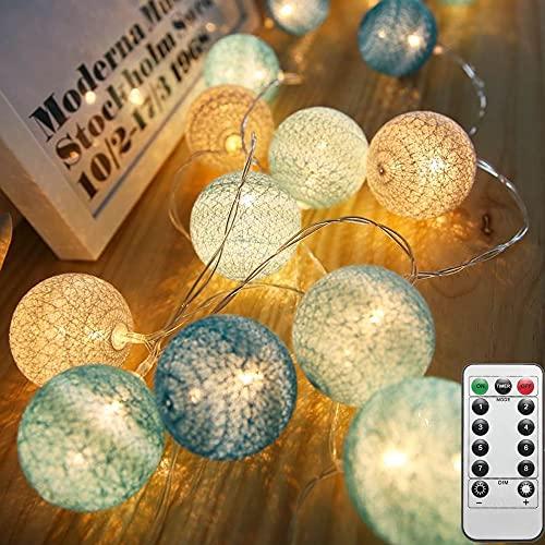 LED Cotton Ball Lichterkette 4M 20 LED Baumwollkugeln Lichterkette USB und Fernbedienung-8 Modi Lichterkette Ball Baby-Kugel Lichterketten Innen Wandleuchte Weihnachtsbeleuchtung Deko (Tiffany-B)
