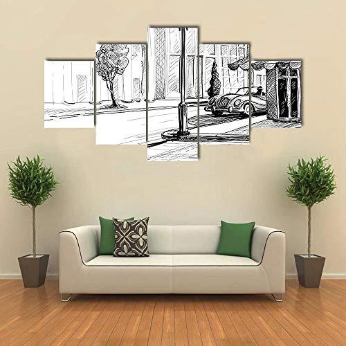 BDFDF Lienzo 5 Piezas Cuadro Lienzo No Tejido Bosquejo Retro De La Ciudad 5 Carteles Pintura Mural Modernos Hogar Decoracion Artes 150X80Cm