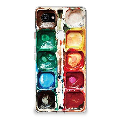 CasesByLorraine Compatible with Google Pixel 2 XL Case, Watercolor Paint Box Print Design Clear Transparent Flexible TPU Soft Gel Protective Cover for Google Pixel 2 XL 6.0  (2017)