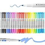 Evidenziatori - Set di penne a doppia punta, 25 pezzi, con punta a scalpello, punta pastello,...