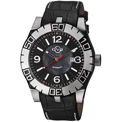 GV2 by Gevril La Luna Mens Swiss Automatic Black Leather Strap Watch, (Model: 8000)
