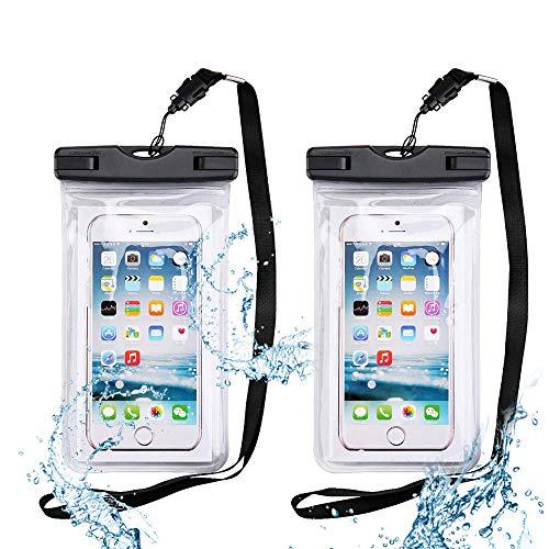 XEMZ 2 Pack Universal impermeable bolsa para teléfono celular con cordón, suave TPU transparente bolsa seca subacuática sellada cuerpo completo funda flotante, para juegos de agua (2 transparentes)
