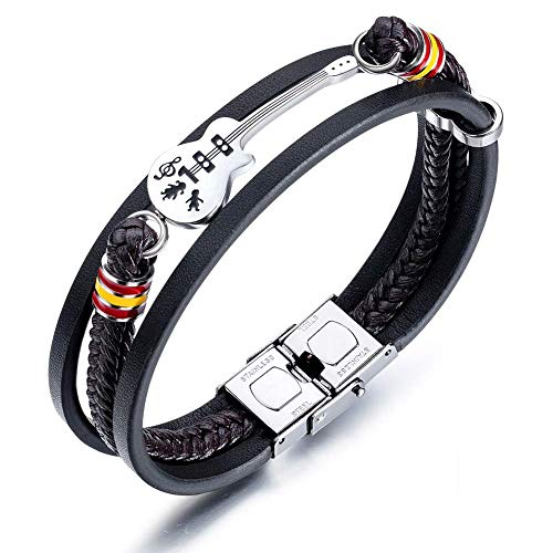 Abracing Bracelet leather braided rope Men Guitar Bracelet Leather Braided Rope Multi Layer Bangle Punk Jewelry Gifts,Freely adjustable, comfortable and safe