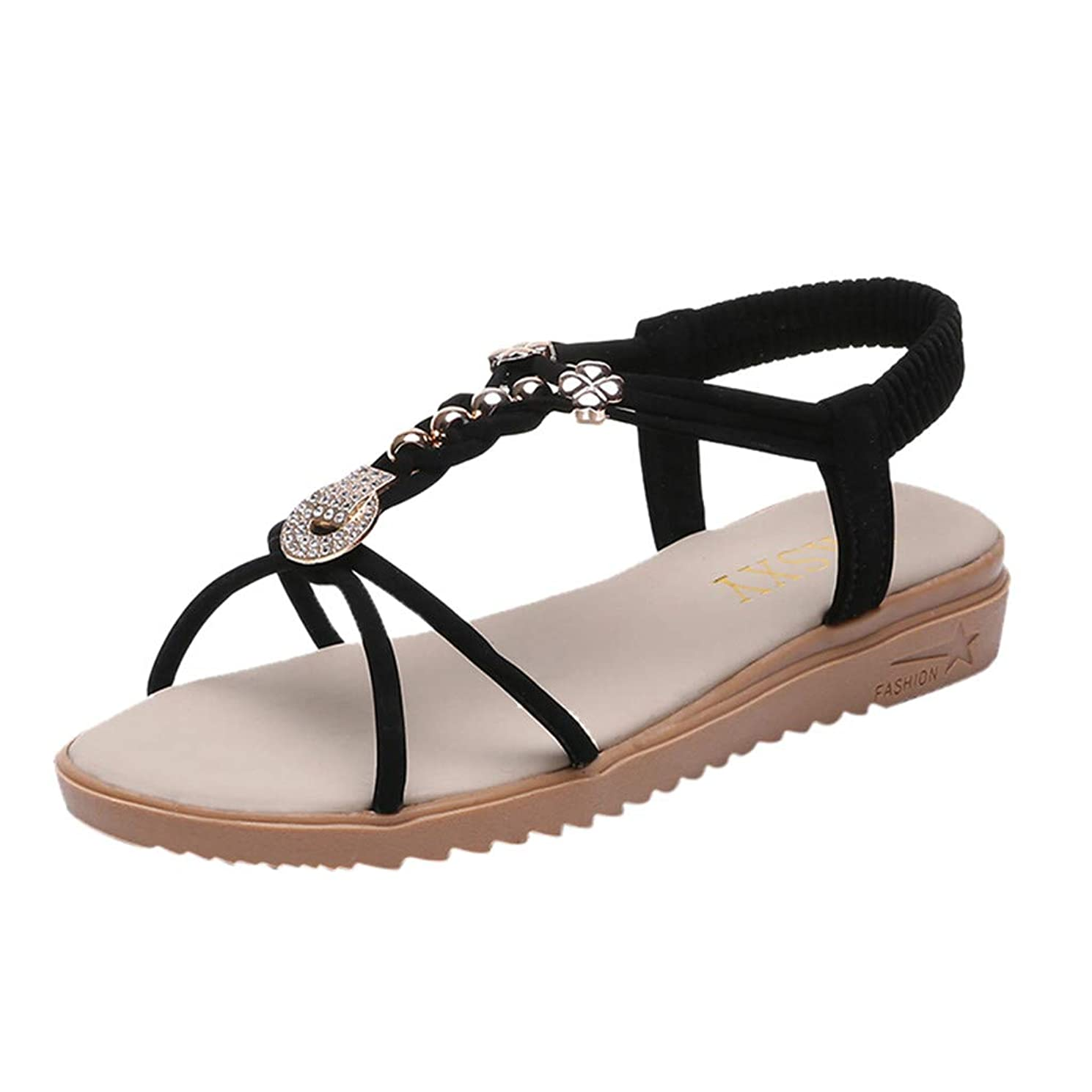ERLOU Spring-Summer Women Ladies Open Toe Elastic Beach High-Heel Sandals Slippers Casual Shoes Fashion 2019?