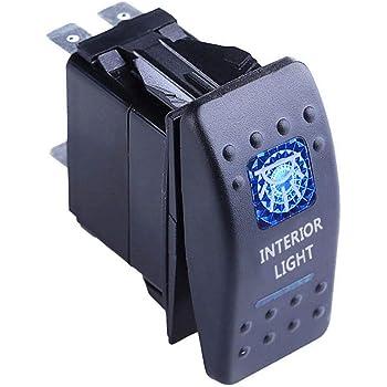 Mintice/™ veicolo auto 12V 20A LED blu interruttore a bilanciere luce 5Pin Tray Light