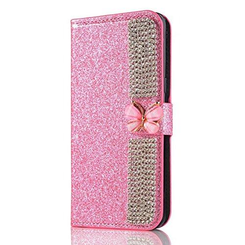 XINYIYI Luxe Bling Glitter Coque pour iPhone X, Housse Étui en PU Cuir Wallet Protection Fonction Stand et Carte Slot avec Diamant Strass Papillon Fermeture Magnétique - Rose