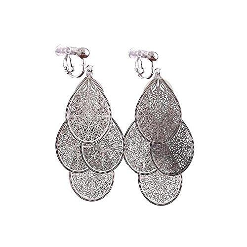Grace Jun, orecchini a clip multistrato, a forma di quadrifoglio, senza foro, per donne e Rame, colore: Silver Clip-on, cod. XHEG18Clip-on