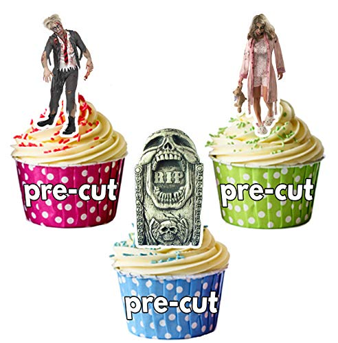 Vorgeschnittene Halloween Zombie Grabsteine Mix – Essbare Cupcake Topper / Kuchendekorationen (12 Stück)
