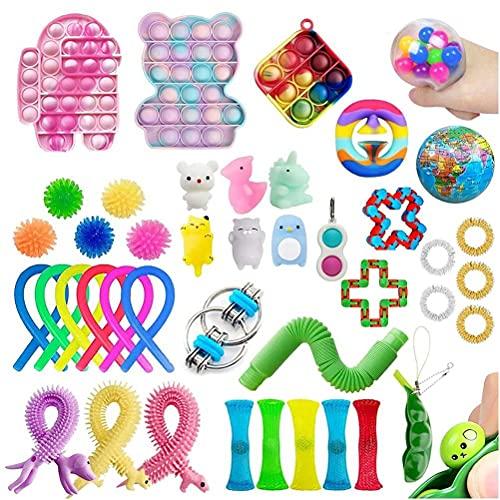 BST-MAI Pop It Fidget Toy, Sensory Fidget Speelgoed Set, 42 stuks Eenvoudige Dimple Infinite Cube Fidget Toy, Bubble Anti-Stress Fidget Speelgoed Set, Stress Relief Speelgoed Set voor Autisme, ADHD Kids Volwassenen
