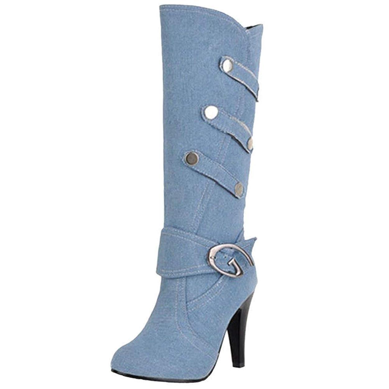 接続された包帯訪問[Unm] レディーズ ファッション ハイヒール 長いです ブーツ 引き上げる