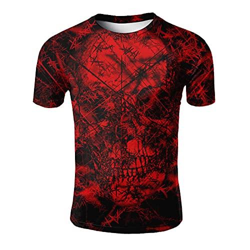 ASHGNV Red Skull Pattern Camiseta para Hombre con Estampado en 3D, Camisetas Informales de Verano de Secado rápido, Novedad, Camiseta de Manga Corta-XL