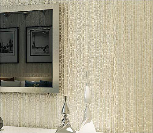Papel pintado 3D Color sólido no tejido Papel pintado Beige claro para decoración de pared de dormitorio y hogar, papel pintado minimalista de lujo 0.53mx9.5m