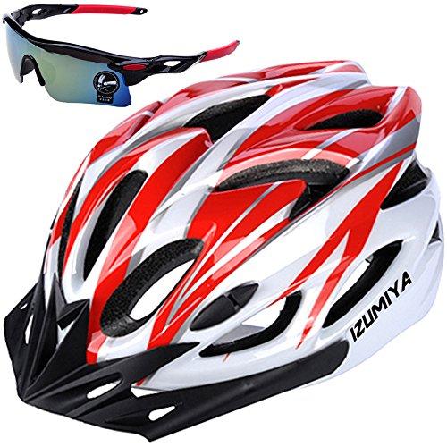 IZUMIYA Bicycle Helmet, Road Bike, Cross Bike, Cycling, Adults, Ultra Lightweight, High Rigidity, Adult Sunglasses Set (White x Red)