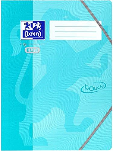 OXFORD by ELBA 400103393 Eckspannermappe im Format DIN A4 mit Eckspannergummi für einen sicheren Verschluß, 3 Abgerundete Einschlagklappen, Fester Karton mit Soft Touch-Oberfläche, Aqua