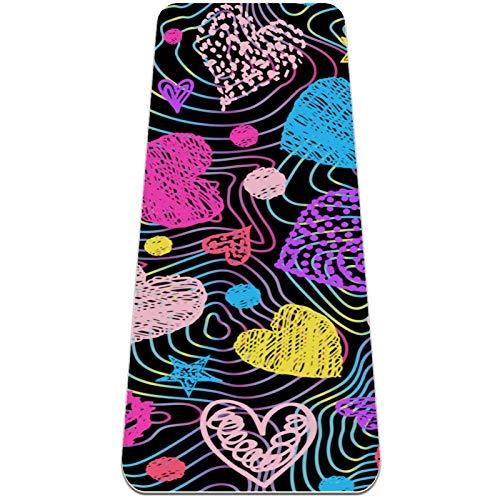 Colorful Lines - Esterilla de yoga con forma de corazón, antideslizante, respetuosa con el medio ambiente, para yoga, pilates y ejercicios de piso, 183 x 81 cm