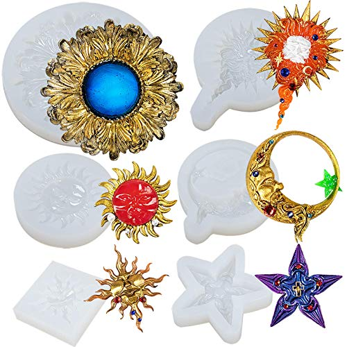 FUNSHOWCASE Celestial Sun Moon Star Plaque Epoxy Resin Silicone Molds Set for Jewelry Casting, Fondant Cake Decoration, Polymer Clay Concrete Cement Craft 6-Count 2-3.1inch