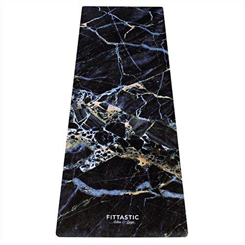 Fittastic All-in-One Yogamatte rutschfest – Marble Design Naturkautschuk – schadstofffrei – Studio Fitness-Matte – Gymnastik-Matte – 3,5 mm – 180 x 61 cm (Black Marble)