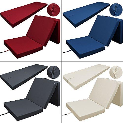 Deuba Matelas Pliant Rouge foncé 190x70x10cm Pliable en 3 Matelas lit 100% Polyester