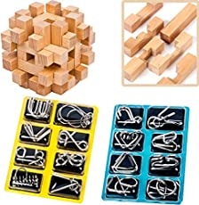 Brain Teasers for Adults Logic and Riddles Puzzles Metal Wire Puzzle Set IQ Test Toys 3D Unlock Interlock Puzzle Kids Preschool Wooden Brain Teaser Assembly Disentanglement Puzzles