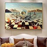 Máscara de ajedrez surrealista abstracto de Salvador Dalí en el mar lienzo pintura carteles e impresiones cuadro de arte de pared para sala de estar 30x55cm (12''x22 '') marco interior