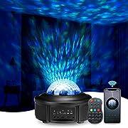 LED Sternenhimmel Projektor, SOLMORE 360°Rotierende Ferngesteuerte Ozeanwellen Projektionslampe,Musikspieler mit Bluetooth & Timer, 10 Farbmodi Nachtlicht für Weihnachten Halloween Party