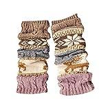 KaloryWee Damen Wintersocken Wollsocken aus Merinowolle oder Schafwolle Schurwolle Norwegersocken Beinlinge Zopfmuster gestrickt häkeln hohe lange Winter Warme Socken Leggings