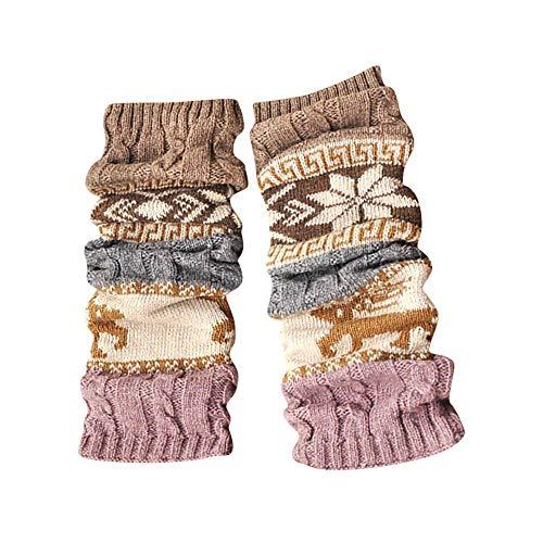 ODJOY-FAN Winter Warm Bein Wärmer Kabel Strickensocken Gestrickt Häkeln Hoch Lange Socken Gamaschen Damen Gedruckt Halterlose Strümpfe (Khaki,1 Paar)