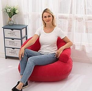 HMG En Forma de U Inflable se reunió Casual Lazy Couch Plegable reclinable Base Sofá (Rojo) (Color : Red)