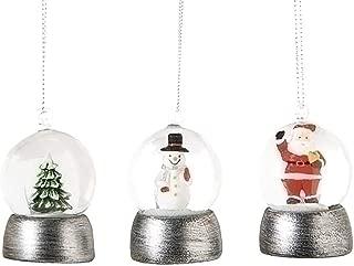 Santa Snowman and Tree 2 Inch Resin Glitter Snow Globe Ornament Set of 3