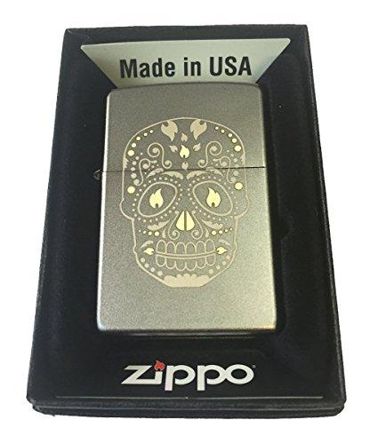 Zippo Custom Lighter - Sugar Skull w/Flame Eyes Design Satin Chrome