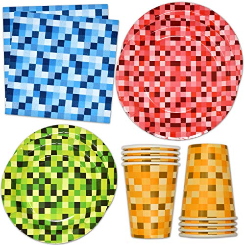 """Pixel Party Supplies Tableware Set 24 9"""" Paper Plates 24 7"""" Plate 24 9 Oz Cups 50 Lunch Napkin for Children Boys and Girls Pix-elated Pixels Themed Disposable Birthday Dinnerware Decoration"""