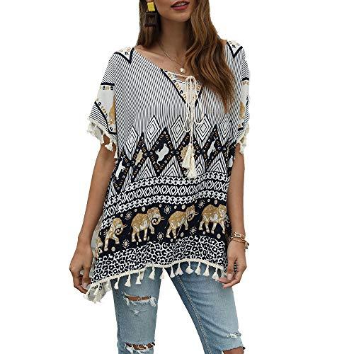 LANHAI Tuniken Damen Boho Blumen T-Shirt O Ausschnitt Kurzarm Elegant Tassel Elefantendruck Bluse Oberteil