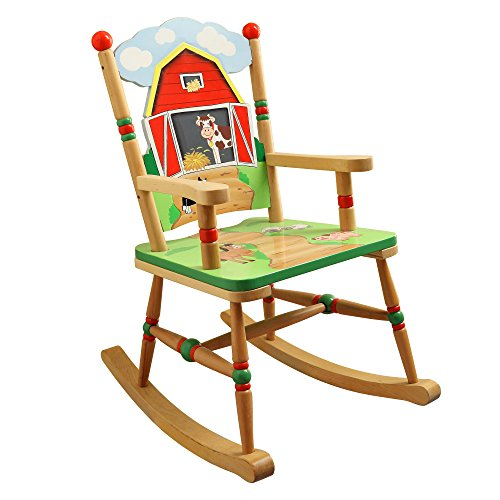 Fantasy Fields - Happy Farm Animals themed Kids Wooden Rocking Chair | Hand Crafted & Hand Painted Details | Child Friendly Water-based Paint