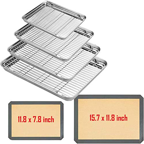 Baking Sheet with Wire Rack Set – Stainless Steel Cookie Sheet Non Toxic & Healthy Duty & Easy Clean, Wire Rack for Ccooking