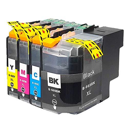 Cartucho de tinta compatible LC669XL LC665XL, color negro y negro para impresora Brother LC669XL LC665XL para usar con impresora Brother MFC-J2320 MFC-J2720